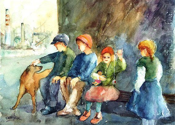 Free Shipping  Neighborhood Kids...  Original watercolor by Faruk Köksal