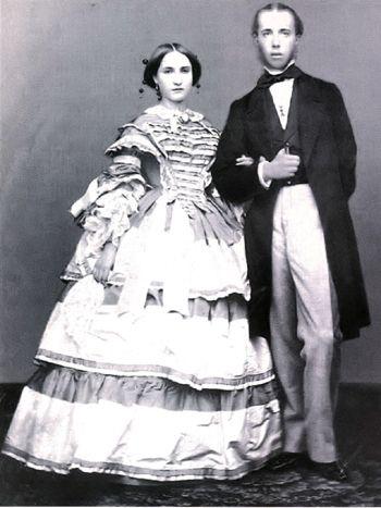 The Austrian archduke Ferdinand Maximilian Joseph (future emperor of Mexico) and his wife Charlotte of Belgium. c. 1857.