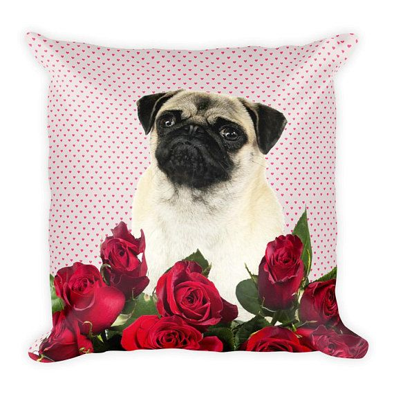 #Pug with roses Mothers Day Square #Pillow #pugdad #pugmom #flowers