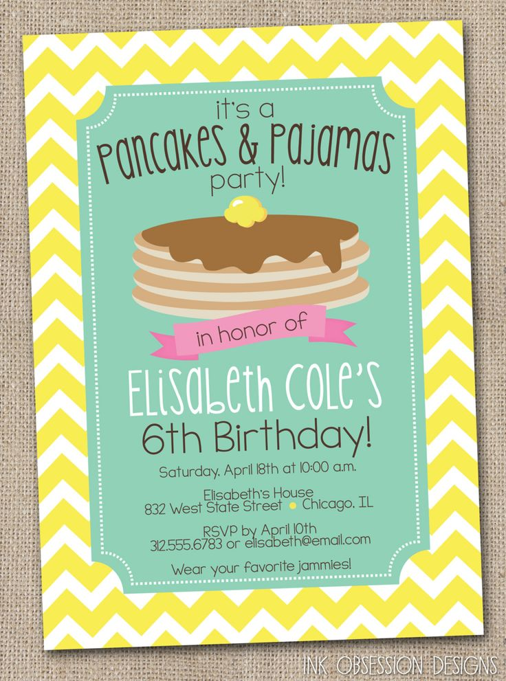 28 best Pancakes and Pajamas party images on Pinterest | Birthday ...