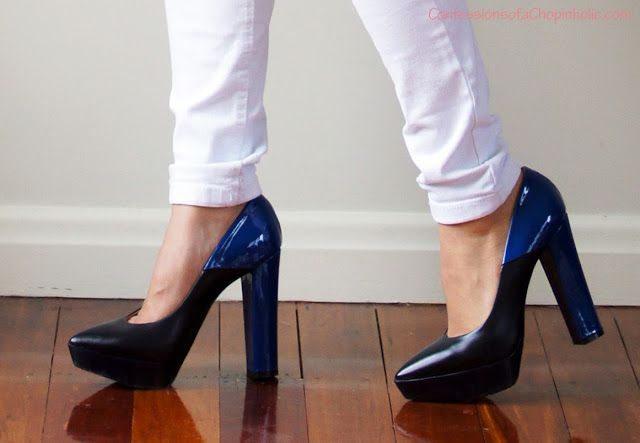 Dione shoes in Nero-electric blue, Beau Coup for Karen Walker.   karen walker, beau coup, nero electric blue, dione, designer shoes