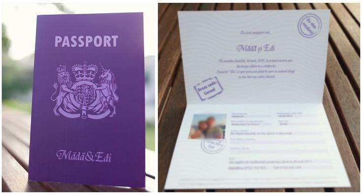Passaport wedding invitation.  Invitatie de nunta - pasaport