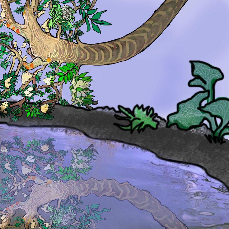 """RIFLESSI rami di un albero riflessi nell'acqua. Dipinto per il tema """"riflessi"""" di Illustration friday primo venerdì di marzo 2015"""