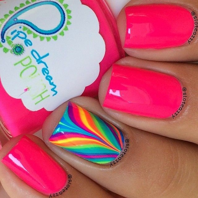 Combinación de uñas decoradas en agua - Nail design in water