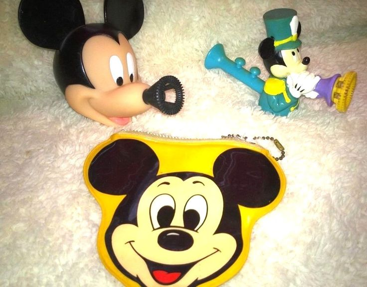 Vintage Mickey Mouse Squeeze Bubble Blower, Bubble Pipe & Hallmark Coin Purse