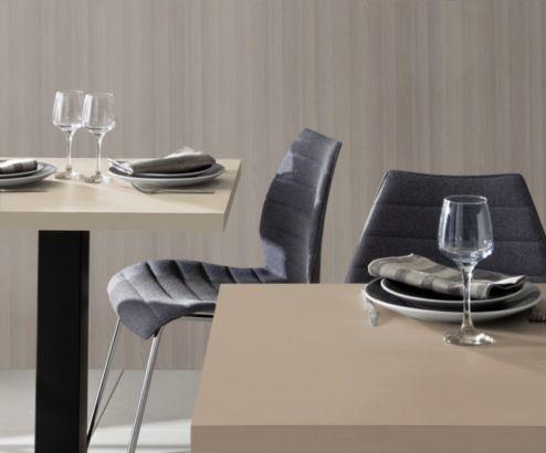 Salle de restaurant décorée avec du stratifié #polyrey collection inspiration luxe #elegance Décor M100 muscade et F058 frêne cristal