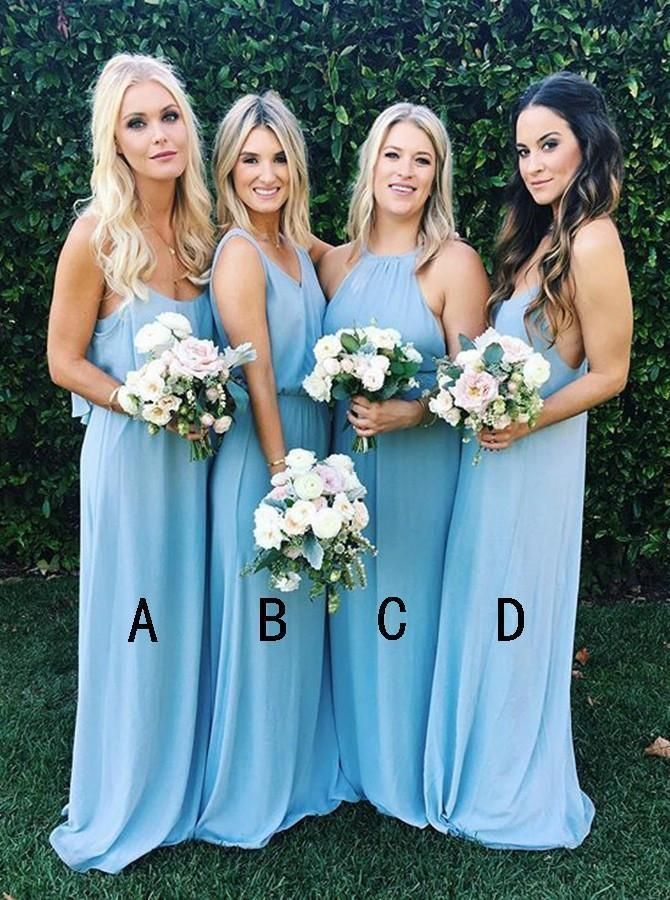 Elegant A-line Bridesmaid Dresses Chiffon Long Bridesmaid Dresses kmy513 #OctoberWeddingIdeas