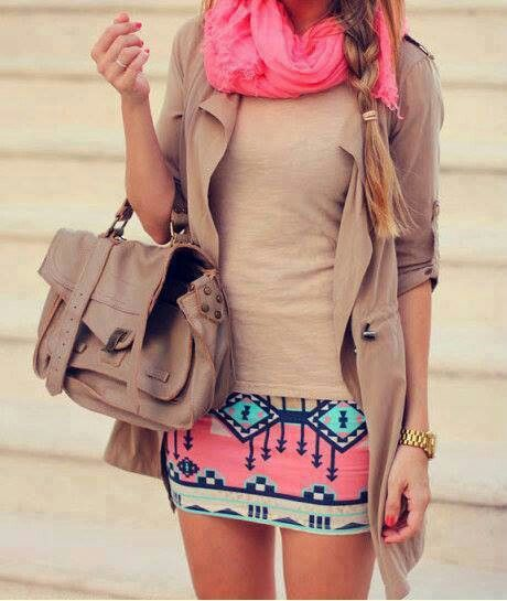 Yes, yes, yes!  Aztec skirts are totally in right now and the scarf/braid combo just make this outfit an A+ in our books.