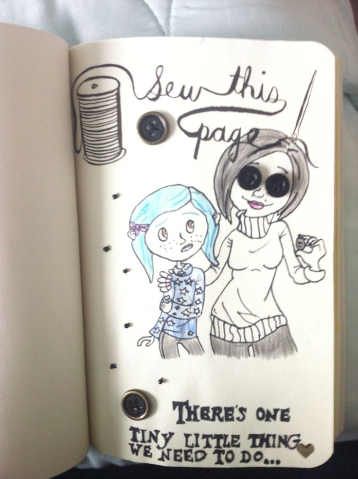 Sew this page. Coraline!   Journal, Wreck this journal ...  Wreck This Journal Sew This Page