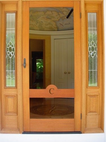 Custom screen doors with monogram! I'm in love... This is going on my wish list.