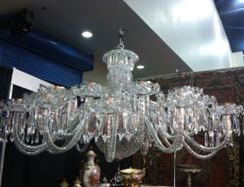 Rare Antique Signed Waterford Crystal 24 Arm Chandelier Mint Condition Over 5ft