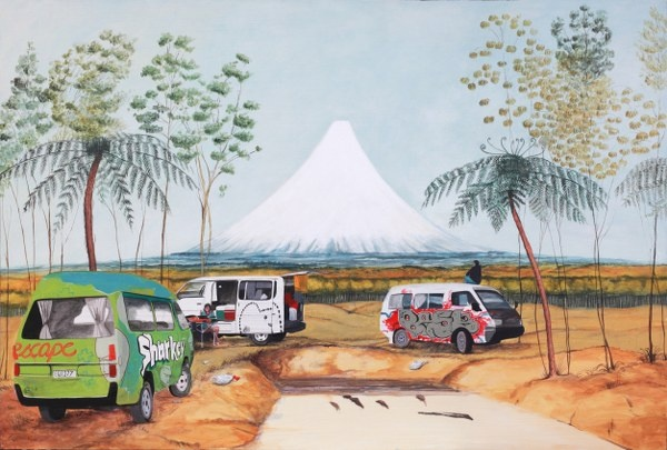 Heaphy's Southward view of Mount Egmont is somewhat disrupted by those pesky freedom campers.  Follow the link for full details and magnified images.   Original - Available. Limited Edition Signed Print $165