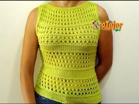 Como Tejer Blusa/Top Primavera-Spring Knitted Top 2 Agujas (269) - YouTube