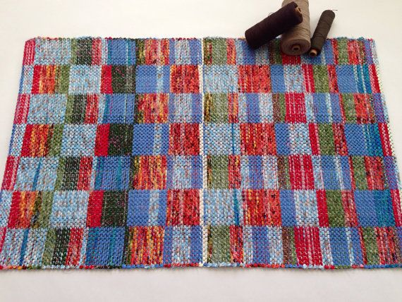You Were Made for This Rag Rug - Hand Woven Colorful Patterned Rag Rug in Blue - Red - Green
