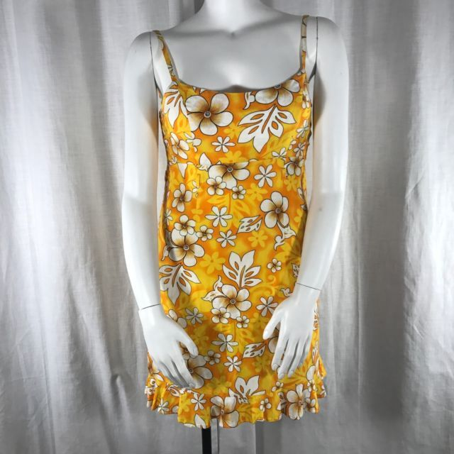 Royal Creations Hawaiian Dress L Aloha Tiki Plumeria Yellow White Handmade | eBay