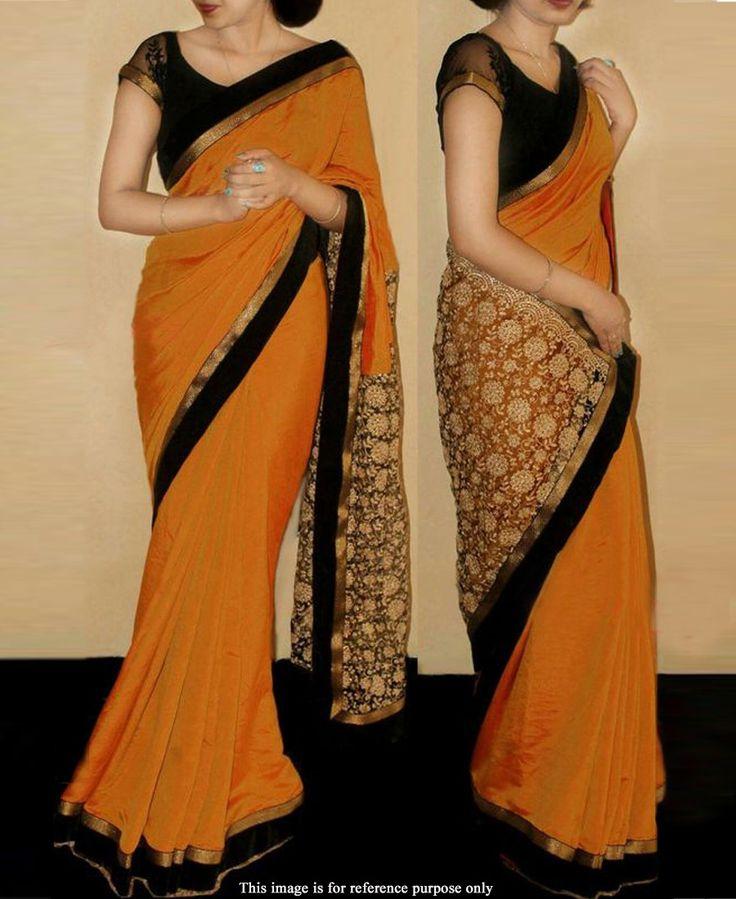 Rimzim Enterprise - Fancy Orange paper silk fabric Party wear Saree