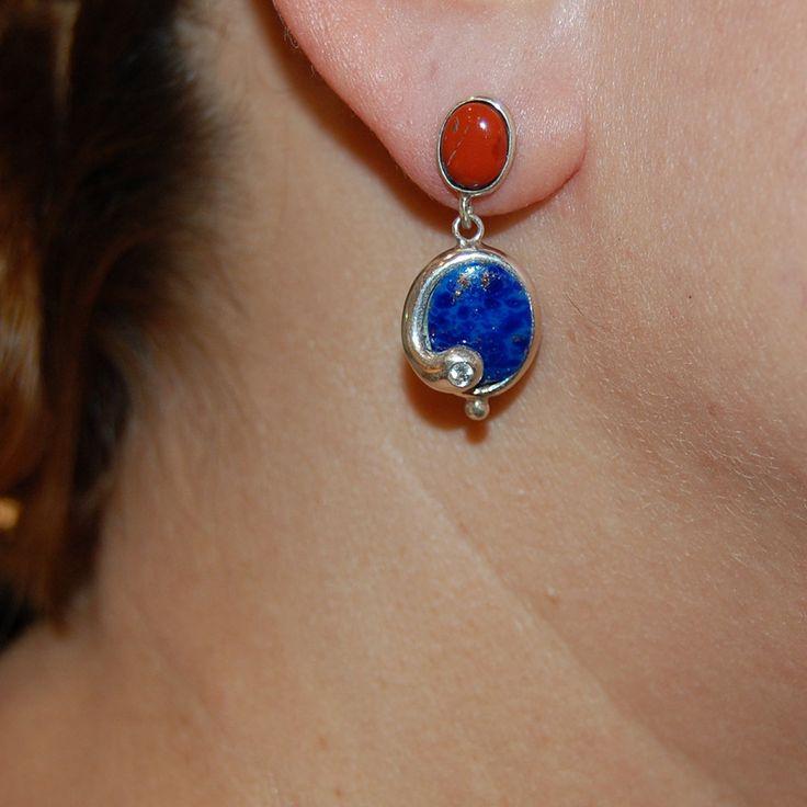 Bright lapis earrings, oval lapis, jasper earrings, turquoise earrings by…