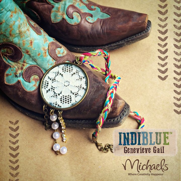 INDIBLUE jewelry collection by Genevieve Gail exclusively at Michaels Arts and Crafts Stores.  Lace Pendant Necklace on a Braided Colorful Thread and Jute Chain.  #Indiblue #Genevieve #Gail #Michaels #Jewelry #Boho #Tribal #Vintage #Inspired #Style #Fashion #Crafts #Lace #Rhinestones #Cowboy #Boots #Braid