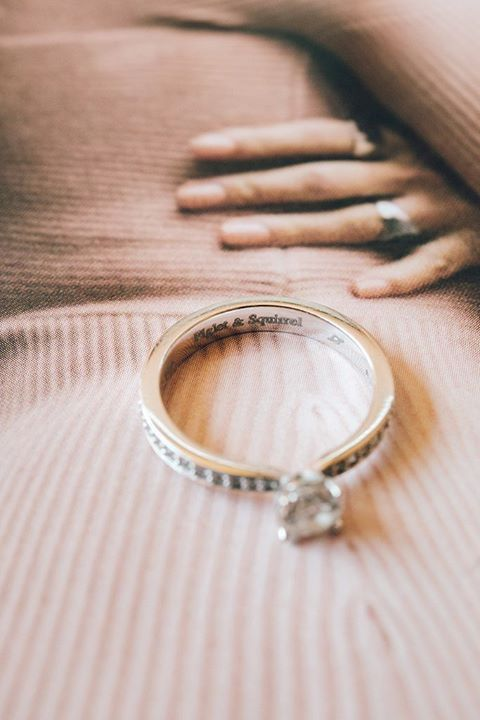 #ThingsWeLove: personalized details! All of us girls dream of a unique engagement ring so how sweet could it be if we had our adorable little nicknames engraved on it too? For - Piglet & Squirrel - ❤️  #weddingdetails #realwedding #weddinginGreece
