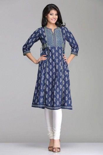 Beautiful Blue A-Line Cotton Kurta With Side Tie-Ups By Farida Gupta