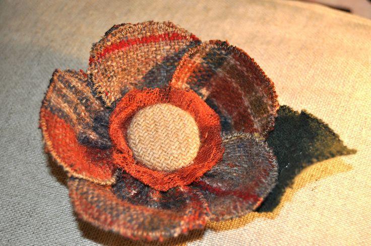 Burns Day Dinner Supper tartan tweed wool brooch winter hat jacket pin vintage