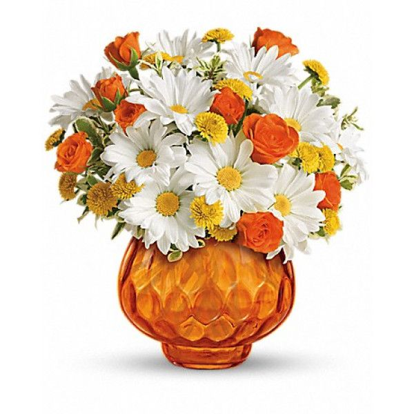 Happy as a country sunrise, this delightful bouquet features orange roses and white daisies in orange cut-glass votive bowl. When the flowers are gone, they can light a candle and have indoor sunshine forever. Birthday #Flowers #Delivery to #Canada