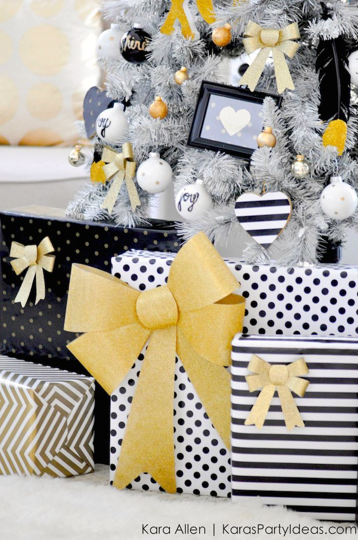 Gold, Black and White striped polka dot Modern Holiday Christmas Tree by Kara Allen | KarasPartyIdeas.com for Michaels | Dream Tree Challenge 2014 #MichaelsMakers #TagATree #DreamTreeChallenge (11)