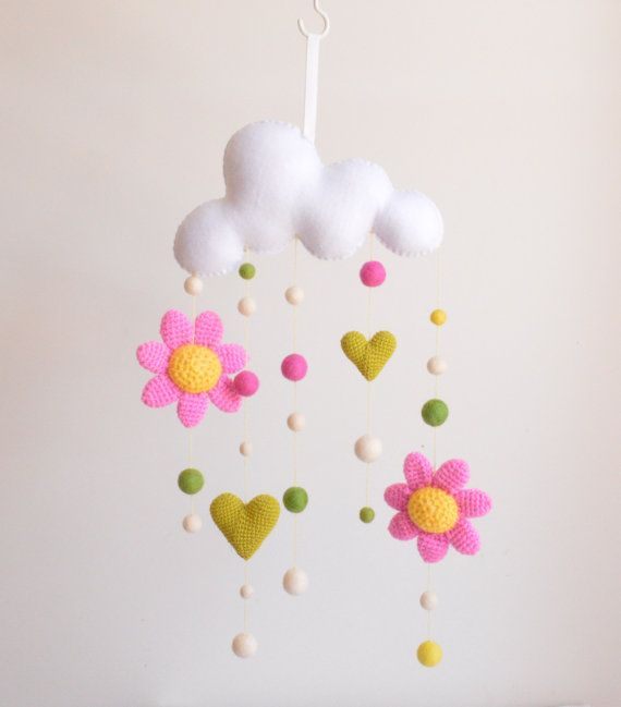 Flowers & Clouds mobiles - Nursery wall décor, baby mobile hanging, cloud mobile, baby nursery, felt ball mobile, crochet mobile,READY TO GO