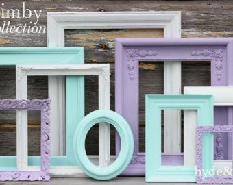 Pink and Navy Blue Baby Girl Nursery Frame by hydeandchicboutique