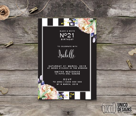 Birthday Invitation Printable / Stripes and by UnicoDesignsInvites