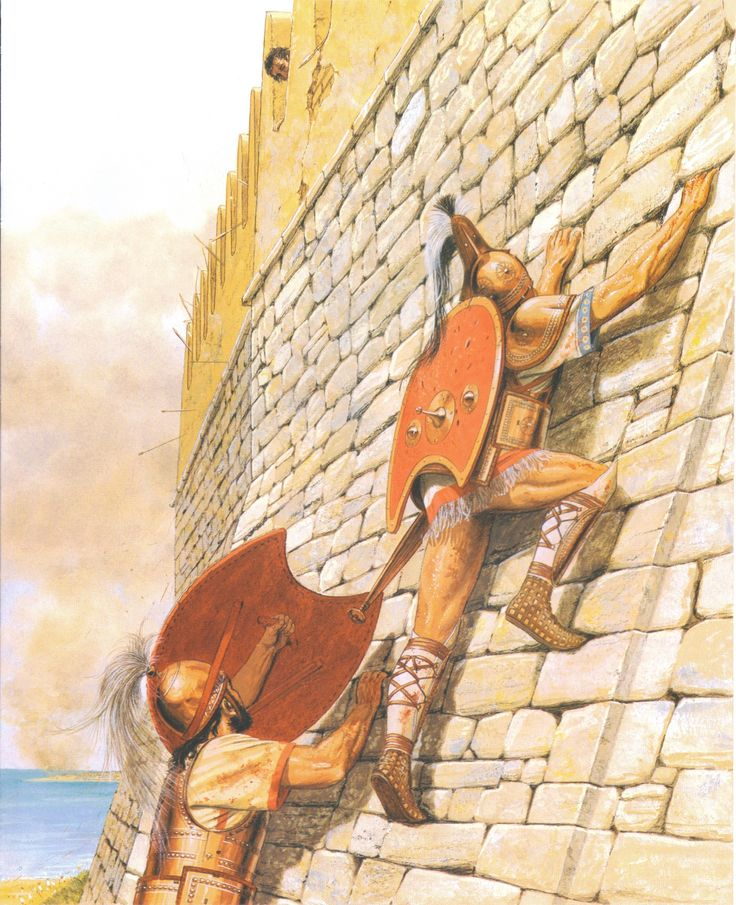 PATROCLUS Climbs the Walls of Troy, Moments Before His Death, by Peter Connolly. (Homer's Iliad, Book 16/Patroclus Fights and Dies/user: Aethon)