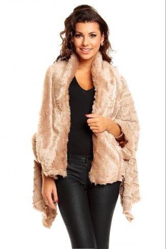 Γούνινο παλτό κάπα με ανάγλυφα σχέδια - Μπεζ