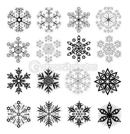 Ensemble de flocons de 16 neige vector noir et blanc