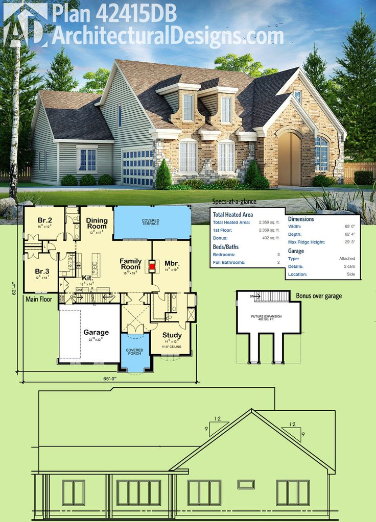 Architectural Designs House Plan 42415DB Gives You 3 Needs And 2 Baths And  Bonus Upstairs.