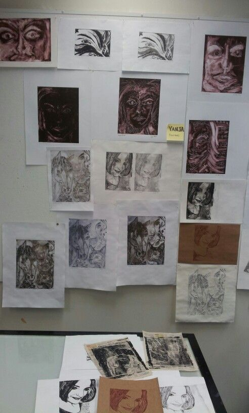 Self Portraits collection > Mono prints/ Dry point etchings