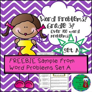 Great FREEBIE! Here are two pages from the Word Problems Set A which contains over 100 problems on 18 pages! Over 100 word problems for third graders! Thats 18 pages of problems! Your students will love these problems! Some are straight forward computation and others are multi-step!