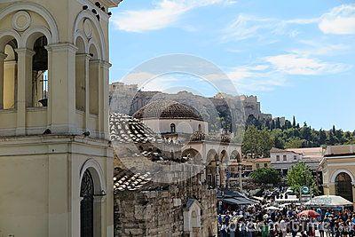 Monastiraki square and Panayia Pantanassa church with view of Parthenon / Acropolis in Athens, Greece.
