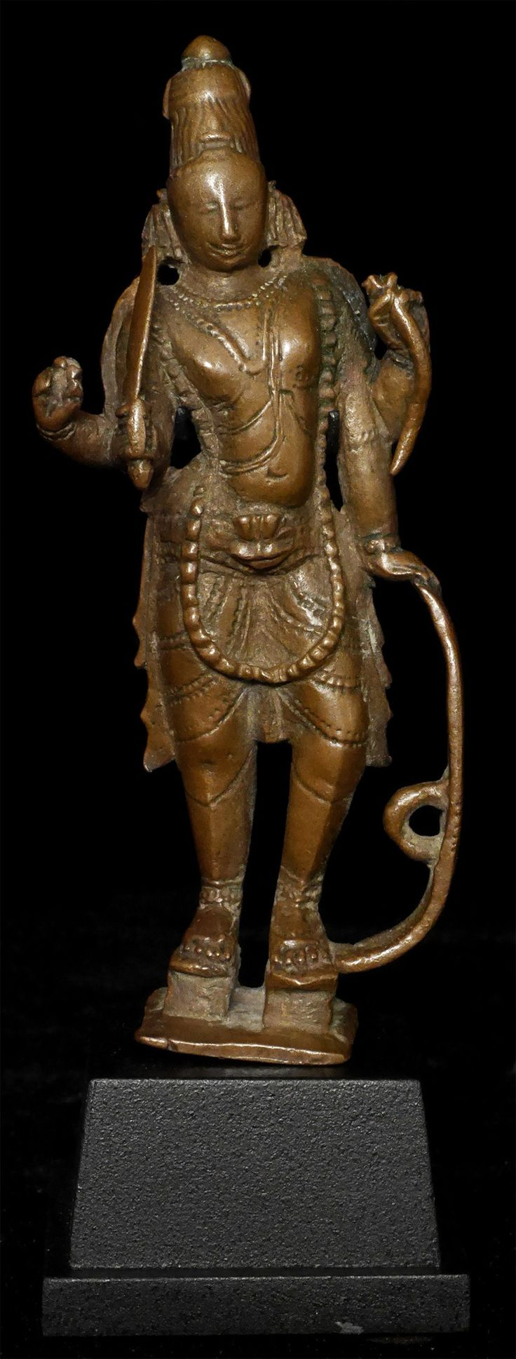 Very fine 17/18thC (likely earlier) standing Hindu deity Virabhadra, a form or avatar of Shiva.