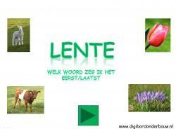 Digibordles lente: welk woord zeg ik het eerst/laatst http://digibordonderbouw.nl/index.php/themas/lente/lentedigibordlessen