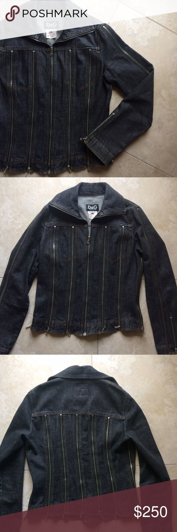 "Dolce and Gabbana multi-zip denim biker jacket This is an incredibly rare one of a kind piece. Guaranteed authentic. This is vintage (from around the late 1980s). Dark faded black denim 100% cotton, with numerous silver metal zipper all around the jacket and up the sleeves. Pics don't do this justice. Can be worn with the zippers zipped up or unzipped for a more edgy look. Zip front. Has a biker/moto jacket look. Literally no rush to sell bc I kinda wanna keep it. Length 24"" from shoulder…"