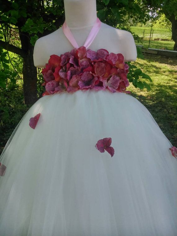 Flower girl tutu in ivory – wedding tutu dress – birthday tutu dress – hydrangea tutu dress – party tutu dress – pageant dress – tutu dress