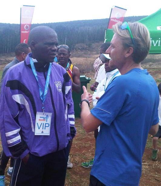 Craig Fry chatting to Willie Mtolo after Inaugural Mandela Marathon 2012