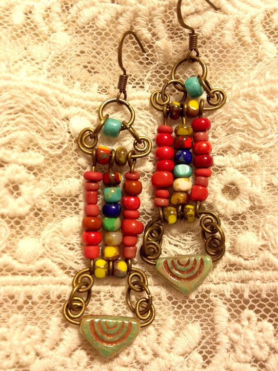 PJive Original Czech glass beaded Boho earrings. on Etsy, $16.00