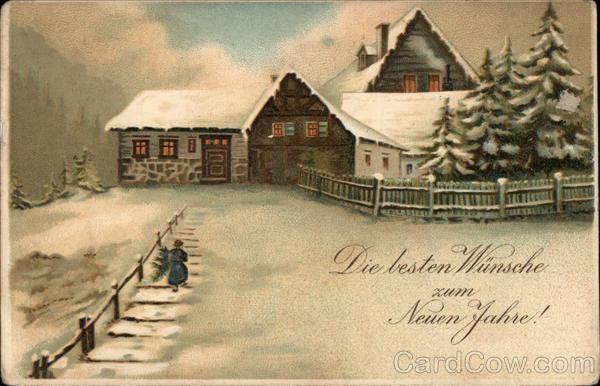 kartka noworoczna, dom w śniegu