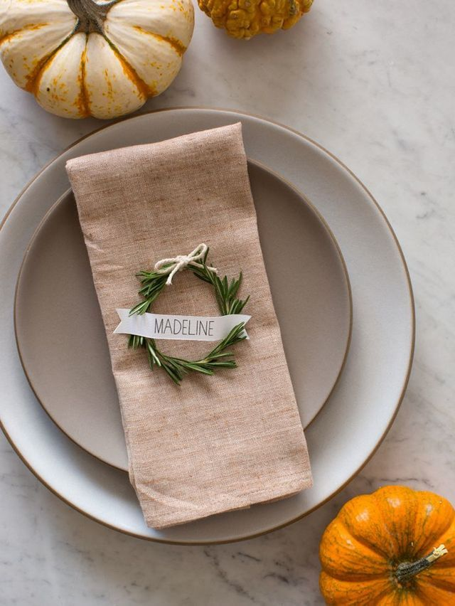 Holiday wreath table name cards rosemary twine printed name