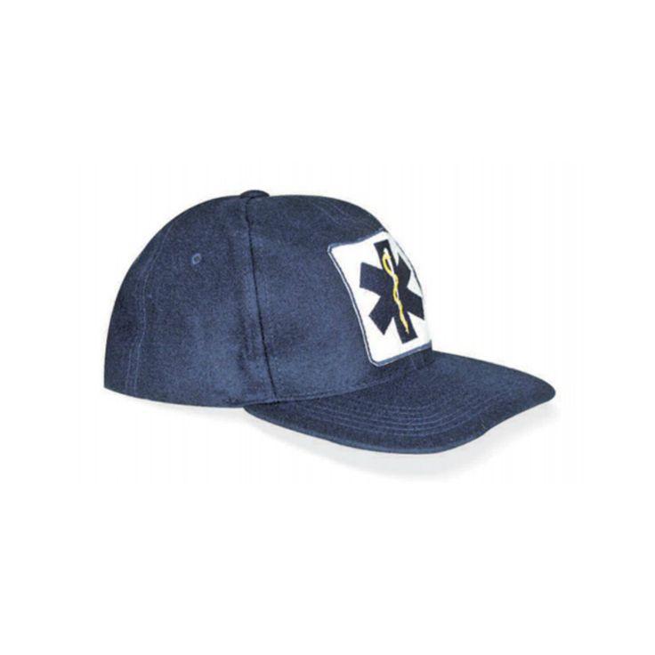 Un cappellino con visiera di colore blu disponibile in tessuto cotone oppure in panno.Patch Star of Life stampata frontalmente.