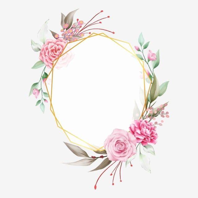 Elegant Geometric Golden Floral Frame With Watercolor Flowers Vector And Png Bingkai Bunga Pola Bunga Bunga Vintage