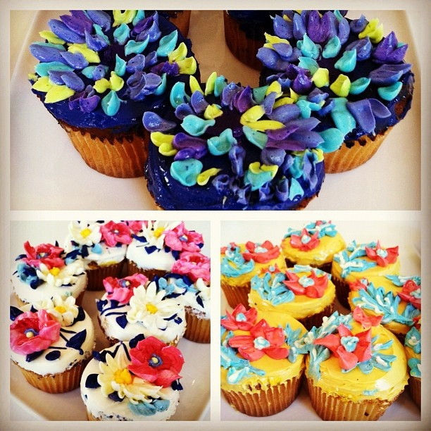 Vera Bradley cupcakes in Indigo Pop, Summer Cottage, and Provençal! Seriously, love!