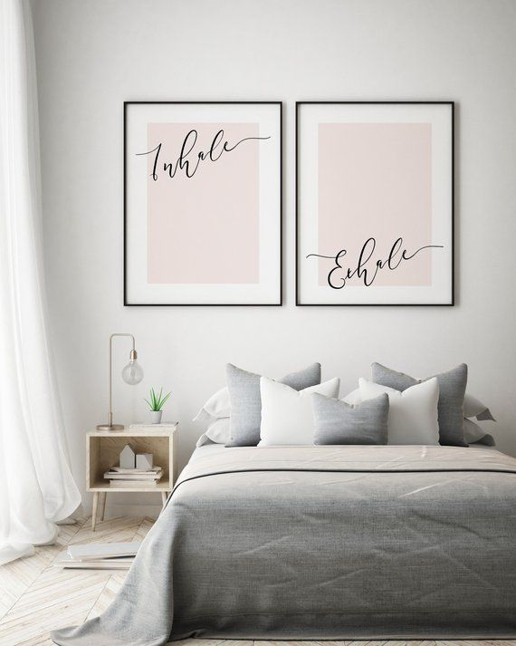 Blush Pink Inhale Exhale Prints Bedroom Art Wall Art Bedroom
