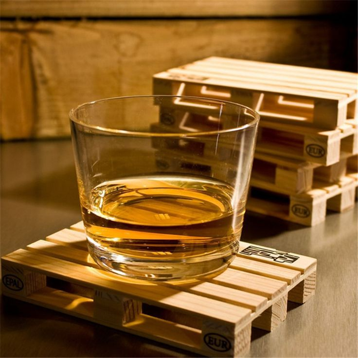 Mini Wooden Pallet Rectangle Coaster Set